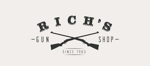 rich gun shop logo design