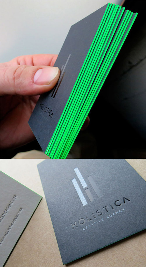 holistica neon green business card