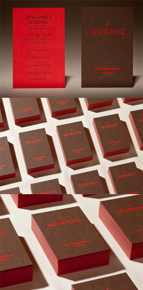 brown red neon business card