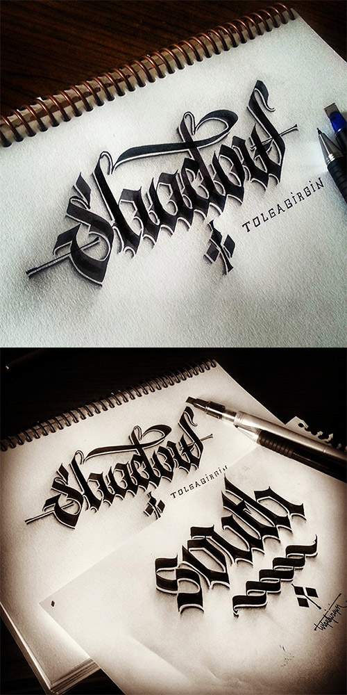 shadow calligraphy tolga