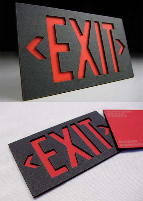 exit stage left neon business card