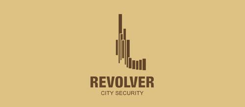 revolver gun logo design