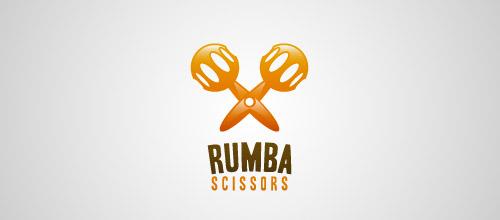 rumba scissors logo design