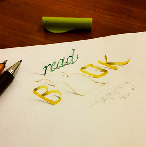 book 3D typography tolga