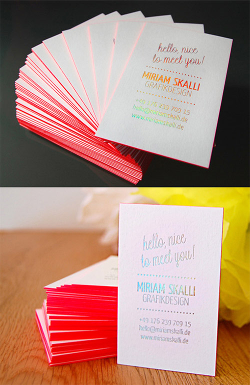 Miriam skalli business card neon design