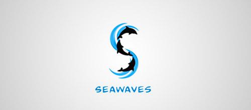 seawaves dolphin logo design