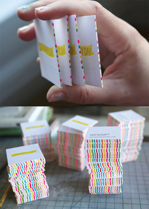 striped edge painting DIY business card