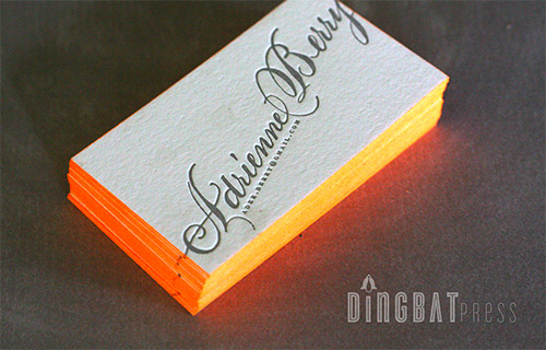 orange neon business card design