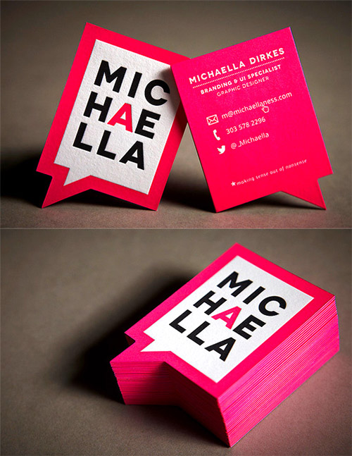 michaella dirkes  pink neon business card