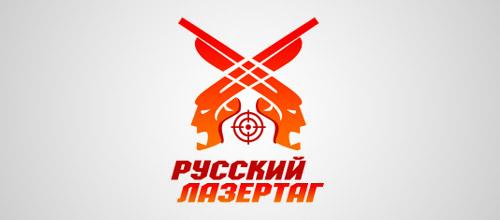 Russian laser tag gun logo design