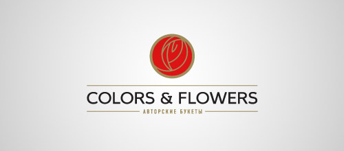 colors & flowers rose logo design