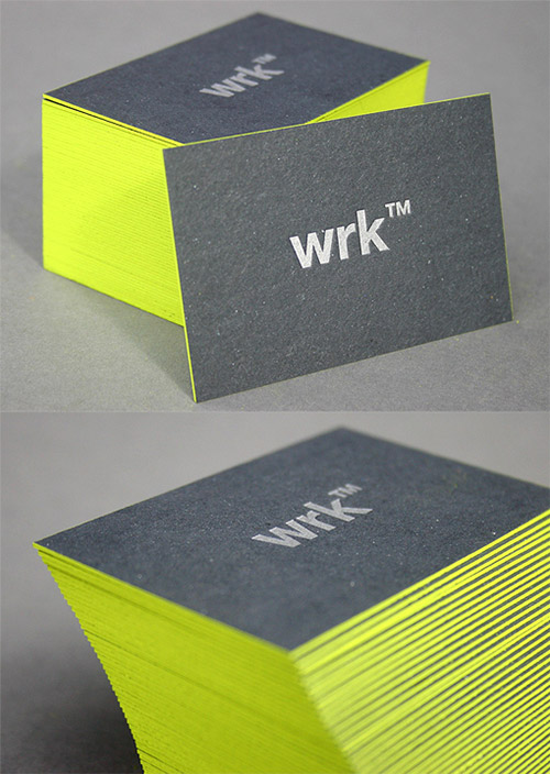 wrk neon green business card