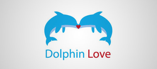dolphin love logo design