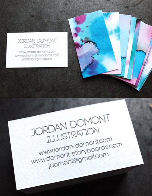 watercolor diy business card
