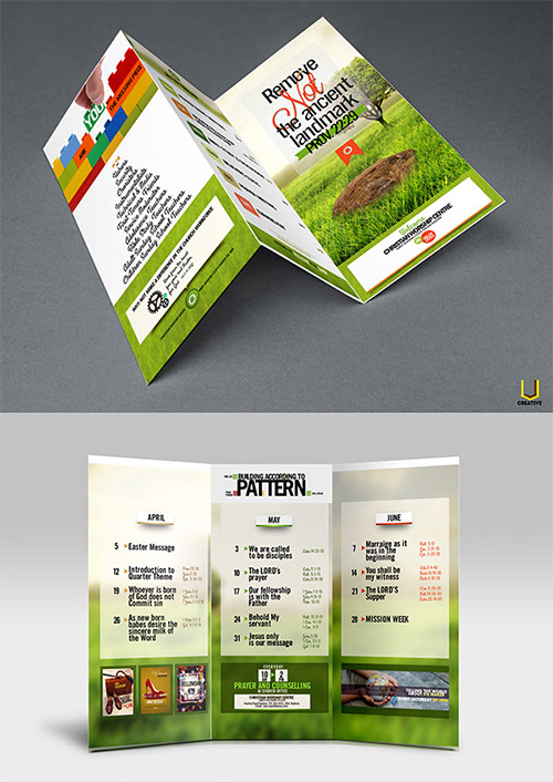 itinerary trifold brochure