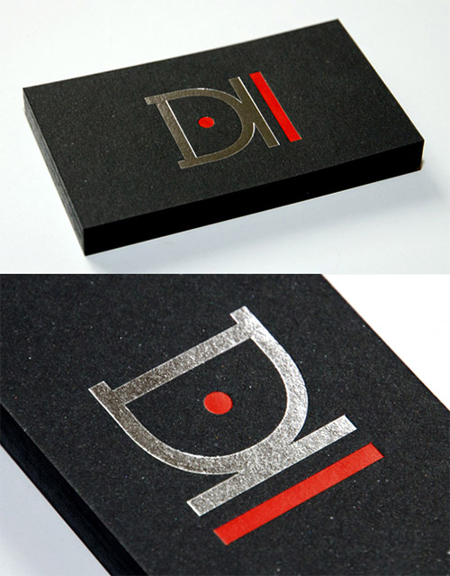d2 gallery business card red neon
