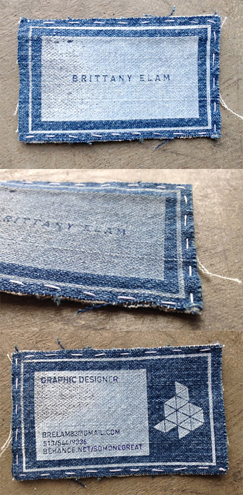jeans diy business card