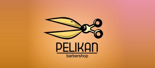 pelican barbershop scissors logo
