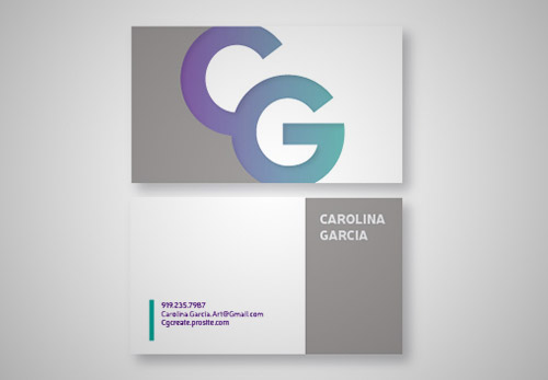 violet green gradient business card