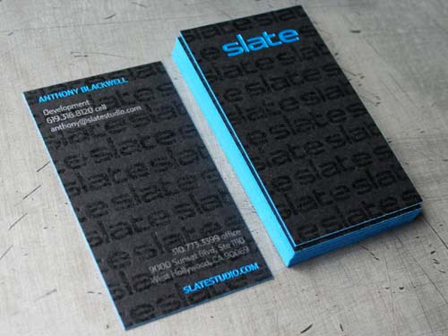 blue neon business card design