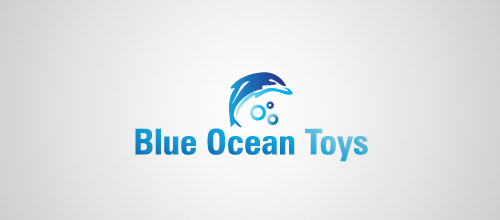 blue ocean dolphin logo design