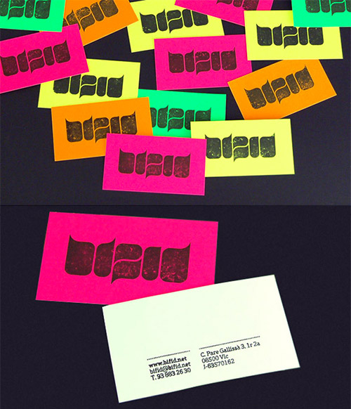 retro fluorescent business cards