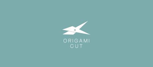 origami cut scissors logo