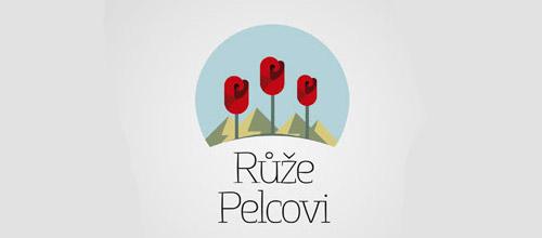 pelc roses logo design