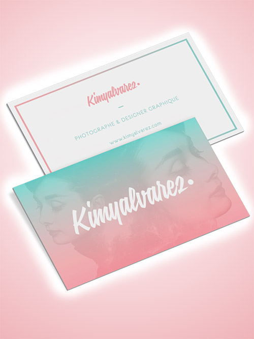 pink green gradient business card