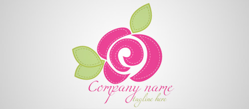 pink rose logo design
