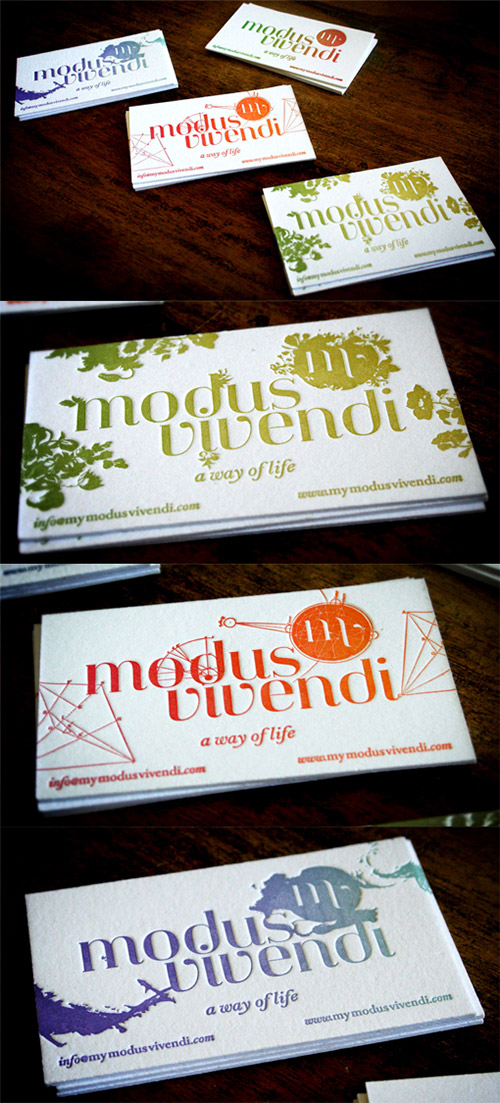 modus vivendi business card gradient design
