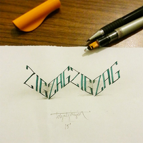 zigzag 3D letters girgin