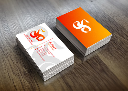 orange business card gradient