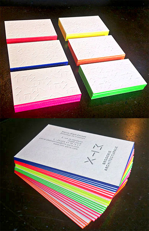 bright neon business cards design