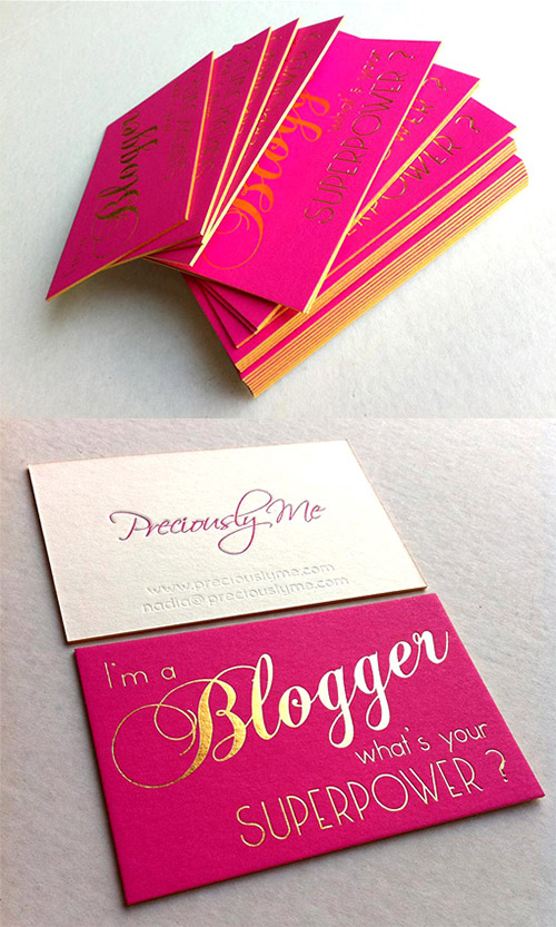 neon pink business card design