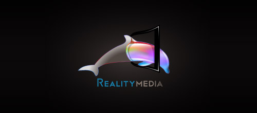 reality media dolphin logo design