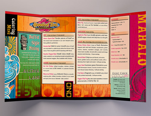 Hawaiian restaurant menu brochure