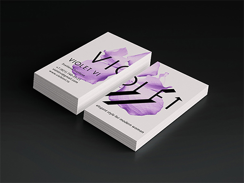 violet flower business card
