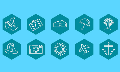 free travel icon set