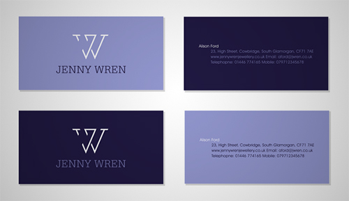 violet minimalist business card