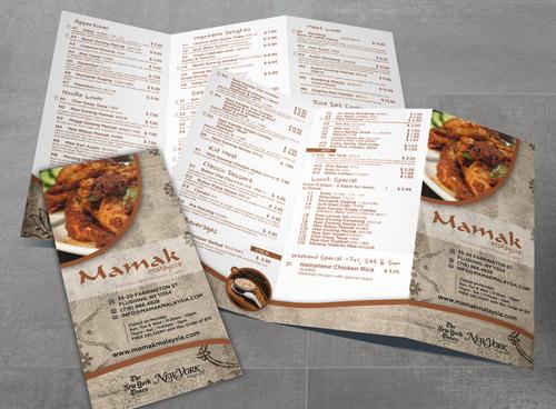Malaysian restaurant brochure