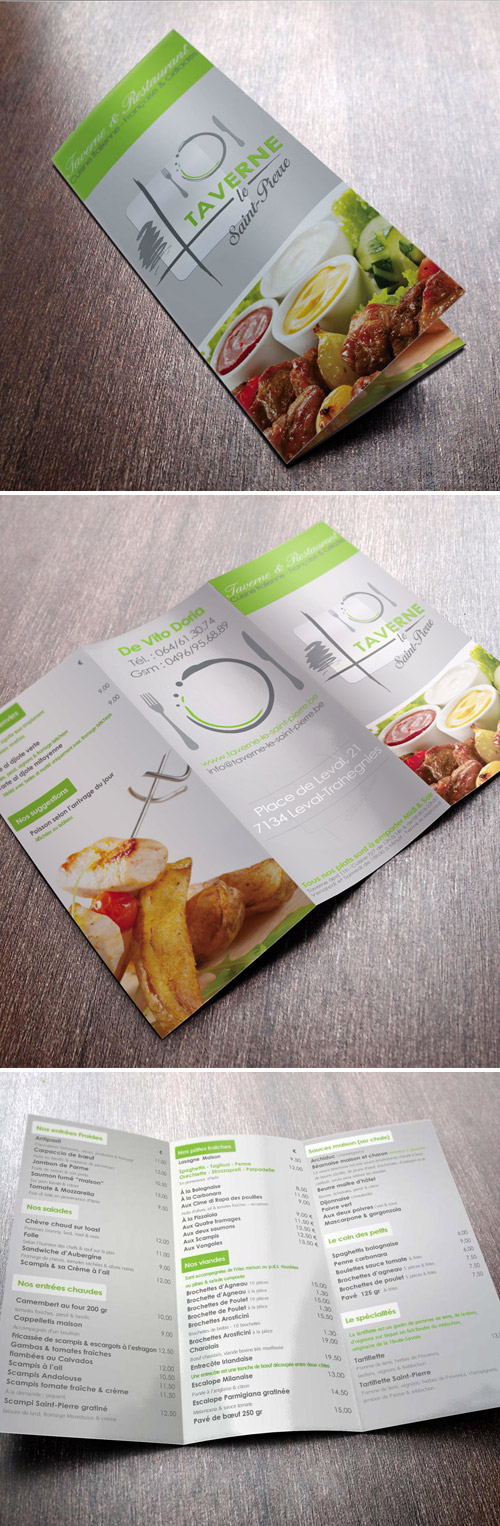 trifold menu brochure