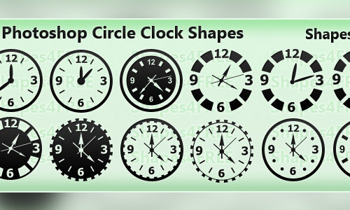 clocks photoshop custom shapes
