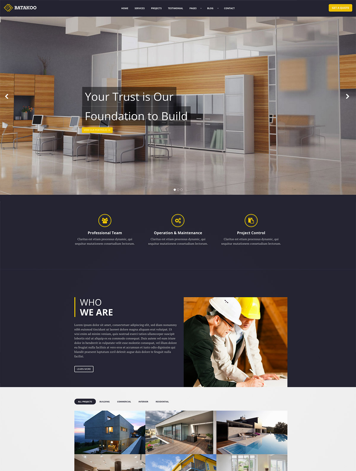 modern construction wordpress