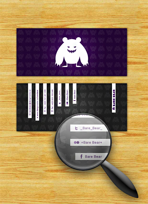 bare bear violet business card