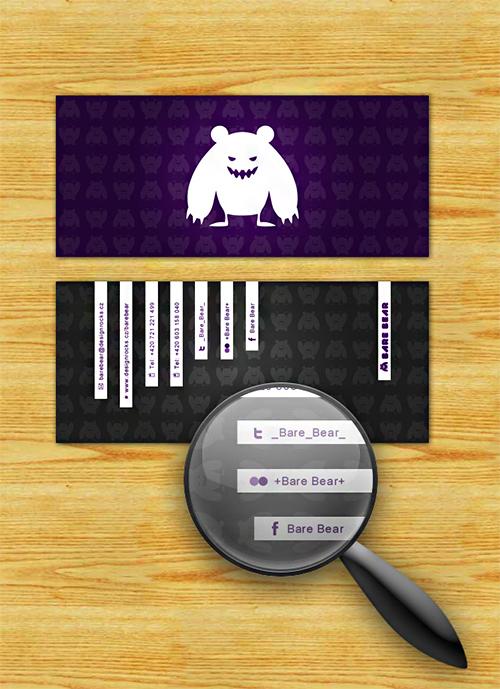 bare bear violet business card