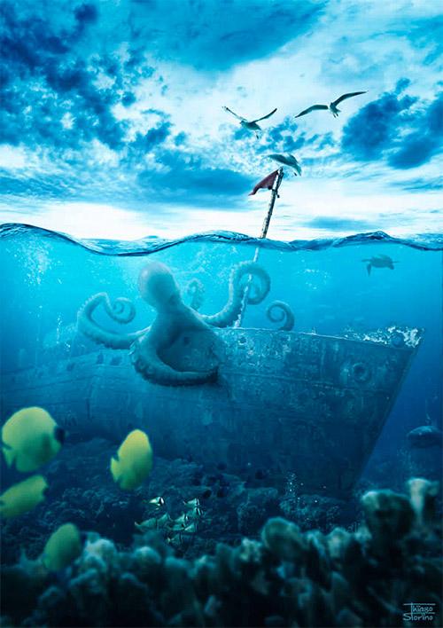 realistic underwater scene photoshop