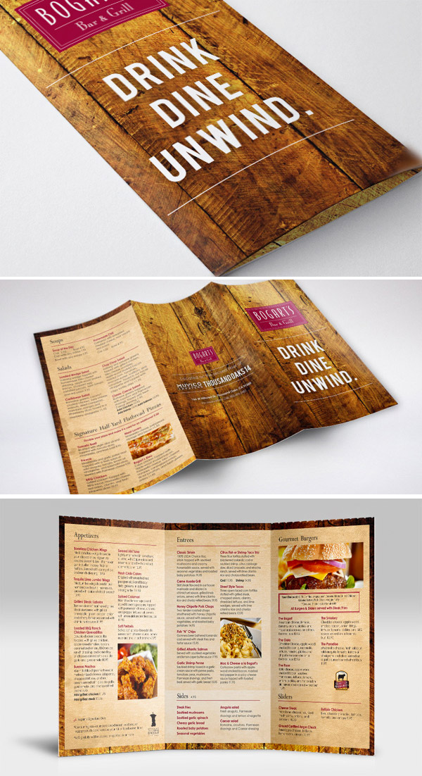 menu trifold brochure
