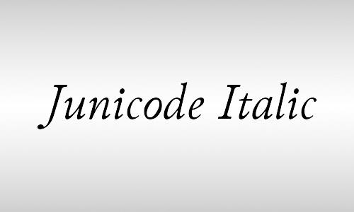 junicode italic font