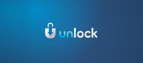 unlock padlock logo design